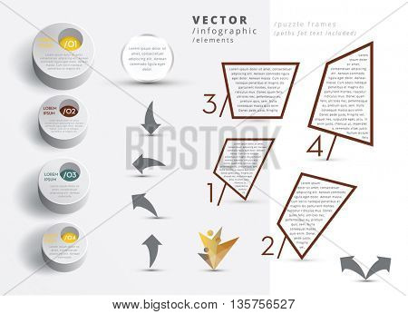 MODERN VECTOR INFOGRAPHIC ELEMENTS , METALLIC COLORS
