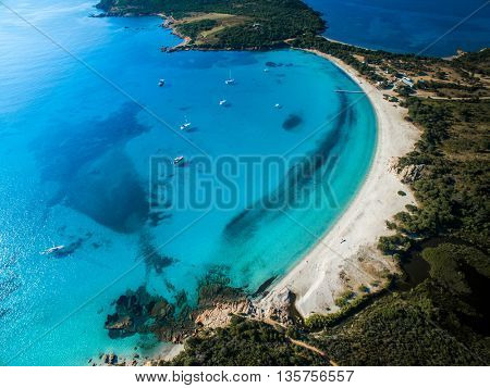 Aerial View of the Splendid Rondinara Beach, Corsica, France