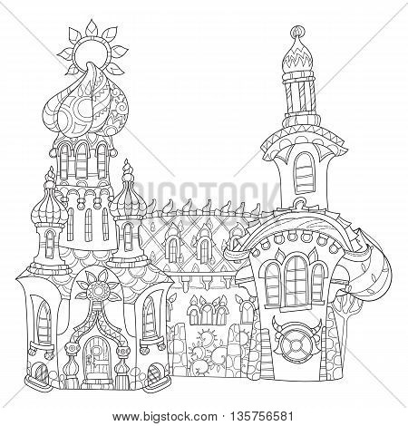 Vector cute fairy tale town doodle.Vector line illustration.Sketch for postcard, print or coloring adult book.Boho zen art style.