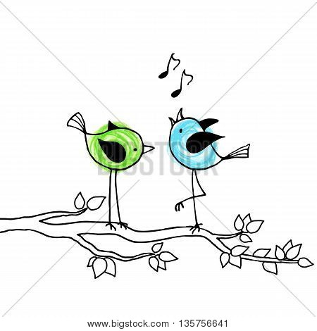 Two cute brightly colored birds on a branch. Vector illustration.