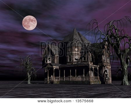 A rendering of a haunted house