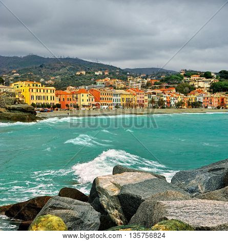 typical Ligurian landscape of Celle Ligure in Italy