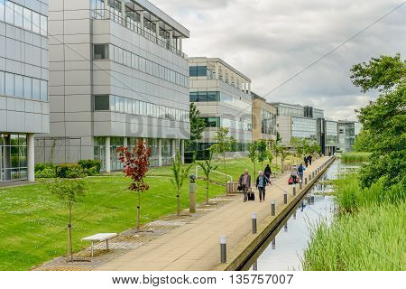 EDINBURGH SCOTLAND - JUNE 20 2016: New business district with modern offices at Edinburgh Park to the west of the city.