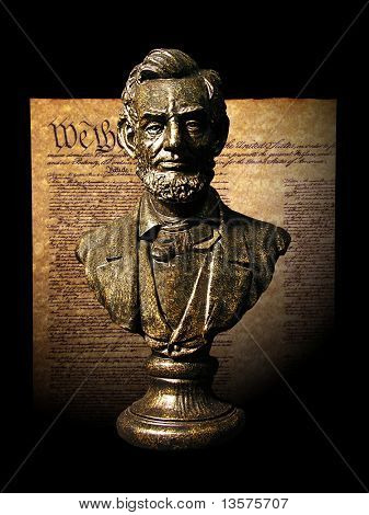 A photo of a statue of Abraham Lincoln with historical documents in the background