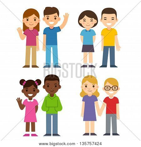 Set of cute cartoon diverse children couples boys and girls. Caucasian Asian and black kids. Happy children illustration flat vector style.