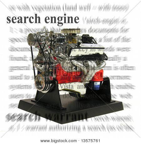 A photo of a engine with a search engine theme