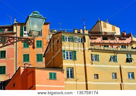 Colorful facades and architectural details of Italian town