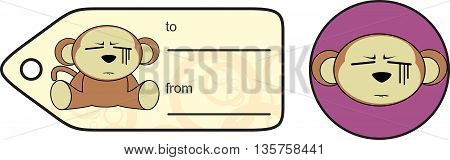 funny monkey expression cartoon giftcard in vector format