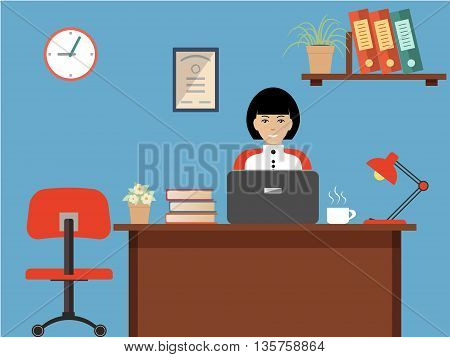 Office worker. Vector flat illustration. The woman is an employee on a workplace. On the picture the desktop, a chair, the laptop, folders, a lamp and other objects in red colors are represented