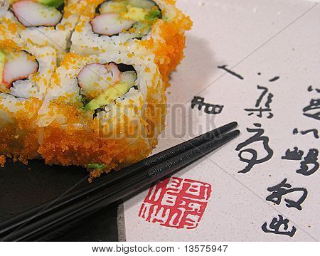 A photo of sushi on a plate