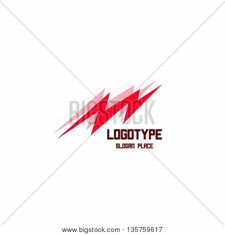 Isolated lightning vector logo. Bright red color energy sign. Electricity symbol