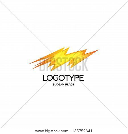 Isolated lightning vector logo. Bright yellow color energy sign. Electricity symbol