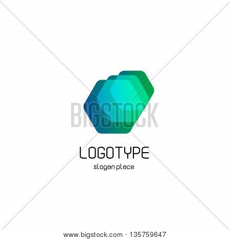 Isolated colorful vector polygonal gem logo. Blue, turqouise, green color jewelry logotype. Geometric hexagon shape