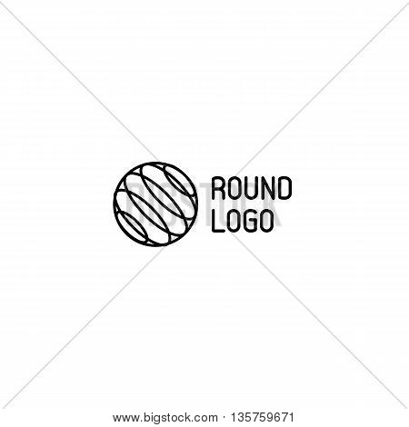 Isolated abstract circular vector logo. Black round outlined ball shape logotype.