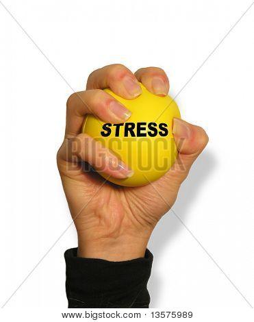 Una foto de una mujer de exprimir una bola de la tensión