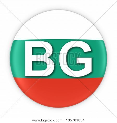Bulgaria Flag Button With Two Letter Country Iso Code 3D Illustration