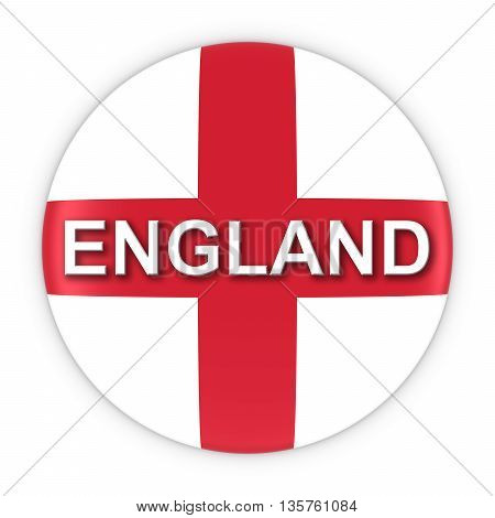 English Flag Button With England Text 3D Illustration