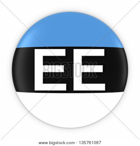 Estonia Flag Button With Two Letter Country Iso Code 3D Illustration
