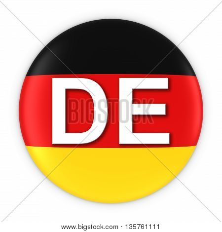 Germany Flag Button With Two Letter Country Iso Code 3D Illustration