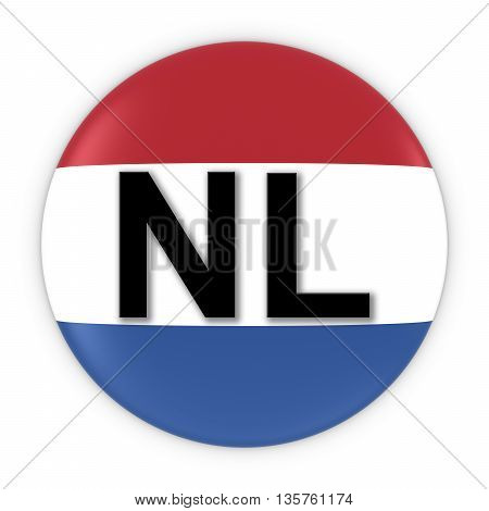 Netherlands Flag Button With Two Letter Country Iso Code 3D Illustration