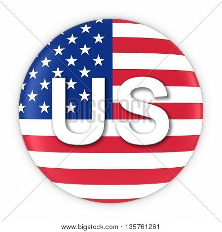 American Flag Button With Two Letter Country Iso Code 3D Illustration