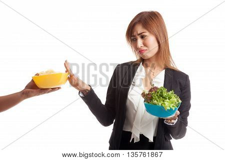 Young Asian Woman With Salad Say No To Potato Chips