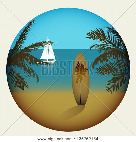 Beach With Palm Trees And Surfboard