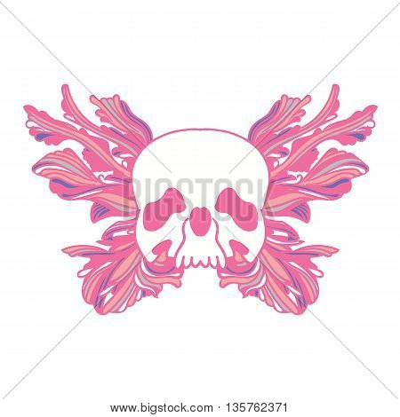 Skull and abstract butterfly. Pink tones. Hand drawn