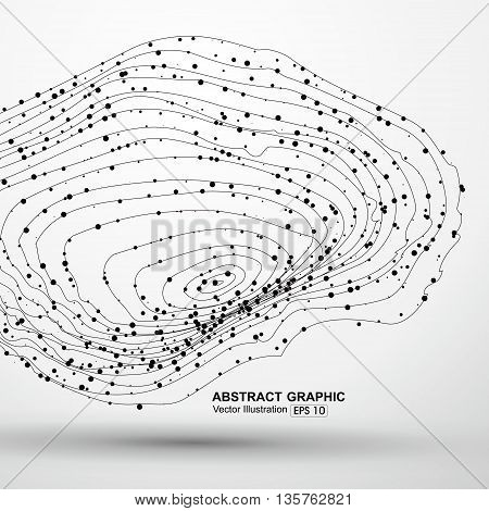 Dot abstract graphics and lines formed.Swirling vector graphics。