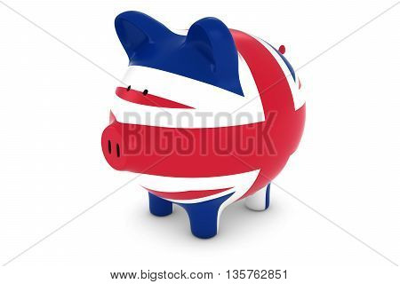 British Currency Concept - Uk Flag Piggy Bank 3D Illustration