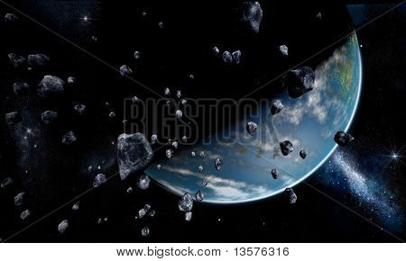 A rendering of a view of earth from outer space