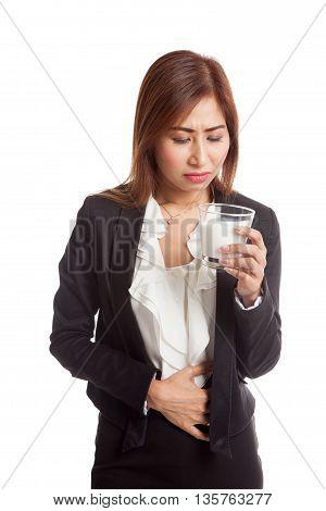 Asian Woman Drinking A Glass Of Milk Got Stomachache
