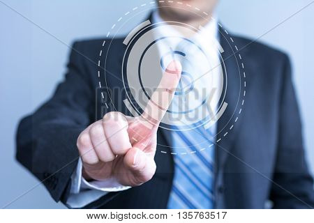businessman touching virtual screen with cy-ber icon