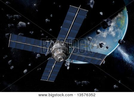 A rendering of a satellite orbiting the earth