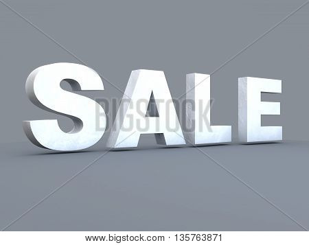 Concept of sale. 3D illustration on the grey