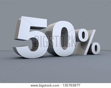 Fifty percent off. Discount 50%. 3D illustration.