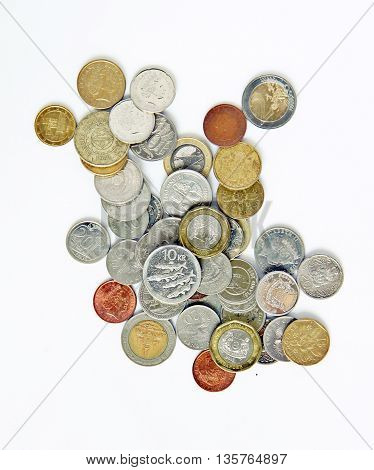 Various currency of used coins in this world