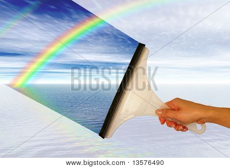 A photo of a woman wiping a window to reveal a rainbow