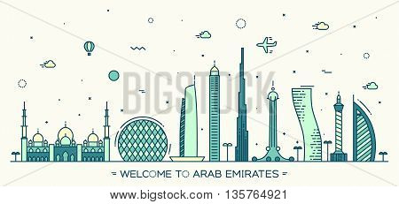 United Arab Emirates skyline, vector illustration, flat style