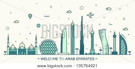 United Arab Emirates skyline, vector illustration, flat style