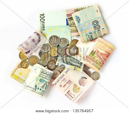 Many currencies exchanged both bank notes and coins for business world