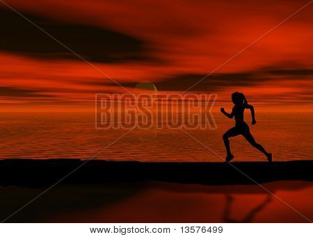 A photo of a woman jogging at sunset