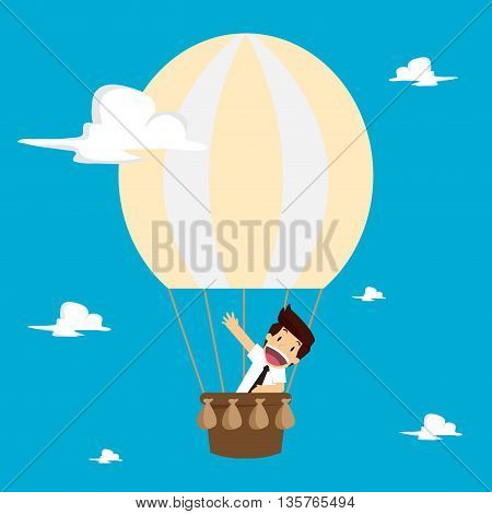 businessman on a balloon floating in the sky. vector