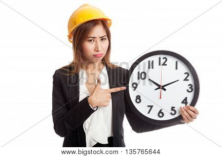Asian Engineer Woman In Bad Mood With A Clock