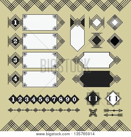Set of black silhouette parallel lines banners and design elements on beige background