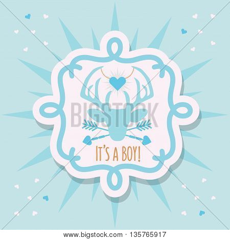 Cute blue baby boy deer emblem sticker and sunburst card with It's a boy message on blue confetti hearts background