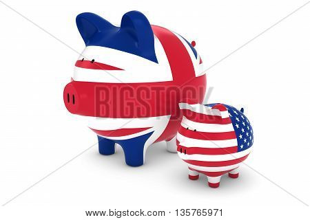 Uk Flag And Us Flag Piggybanks Exchange Rate Concept 3D Illustration