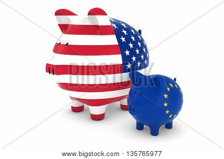 Us Flag And Eu Flag Piggybanks Exchange Rate Concept 3D Illustration