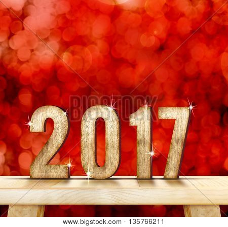 2017(3d rendering) year wood texture on plain wood table top with red sparkling bokeh wallHoliday conceptleave space for adding your content.