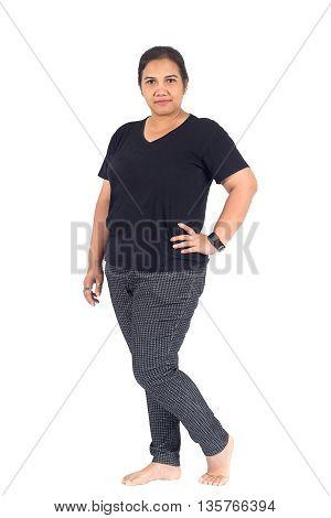 Thai Plump Woman In Casual Wear